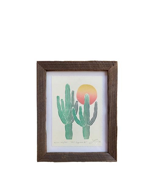"""Framed """"Dos Saguaros III"""" - Peach Sun"""