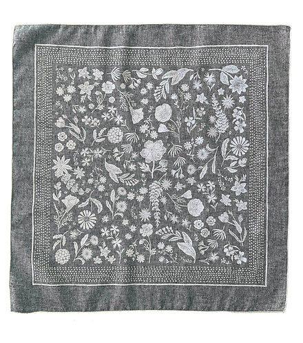 Organic Cotton + Hemp Bandana - Wildflower // Grey Chambray