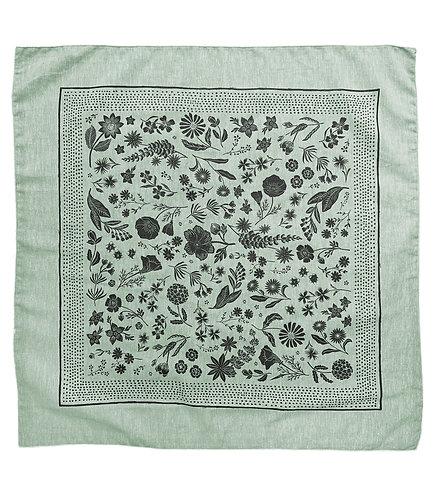 Organic Cotton + Hemp Bandana - Wildflower // Sage Chambray - Black Ink