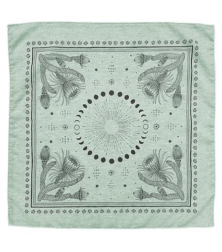 Organic Cotton + Hemp Bandana - Cacti + Moons // Sage Chambray - Black Ink