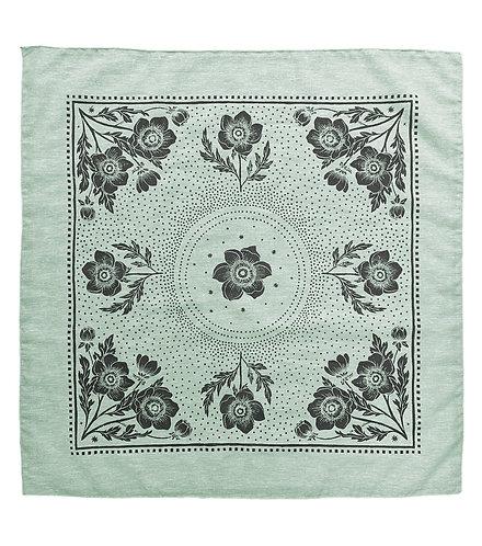 Organic Cotton + Hemp Bandana - Anemone // Sage Chambray - Black Ink