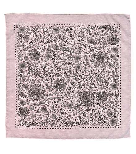 Organic Cotton + Hemp Bandana - Garden // Rose Chambray - Black Ink