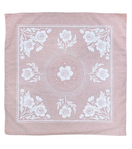 Organic Cotton + Hemp Bandana - Anemone // Rose Chambray - White Ink