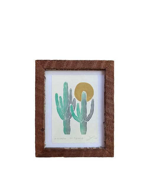 "Framed ""Dos Saguaros III"" - Gold Sun"