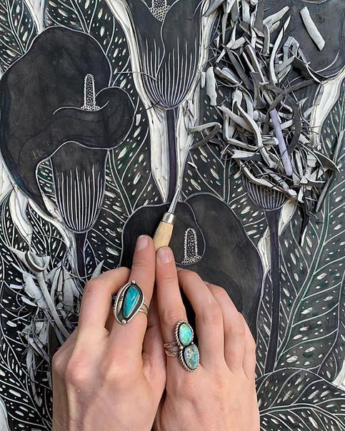 Carving Calla Lily block