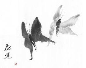 Flying Together, sumi painting ©1995 Kaj