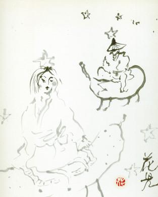 Tanabata, sumi painting ©2000 Kaji Aso.