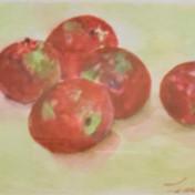 """An apple a day!"" watercolor by Tsuya Chinn $175"
