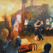 """""""Buenos Aires: Dance Hall 11 pm"""" watercolor by Katherine Sloss NFS"""