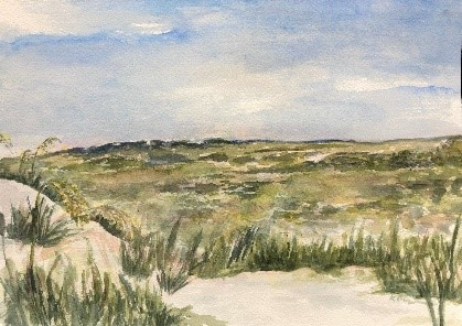 """Bird Island, NC"" watercolor by Katie Dupuree SOLD"