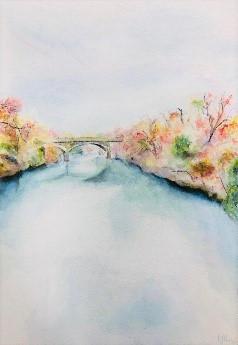 """Autumn River"" watercolor by Isabel Jiah-Yih Liao $195"