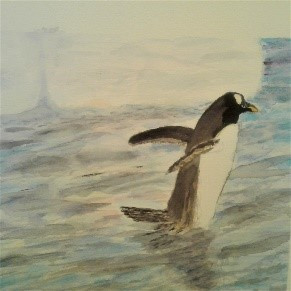 """""""A Wade in the Water"""" watercolor by Ruth Khowais $100"""