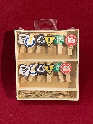 Clips o gancho madera x 12