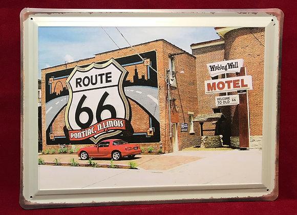 Placa Route 66 metálica   40 cm x 30 cm