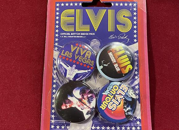 Set Botones x 4 Elvis Presley Oficial