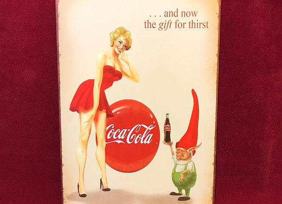 Placa Coca Cola metal 20 x 30 mate