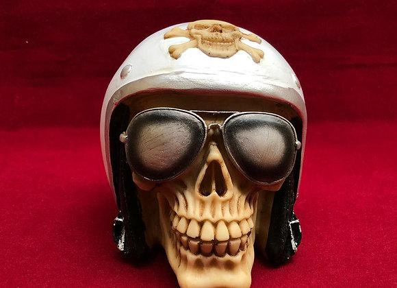Calavera motociclista 3d resina importada