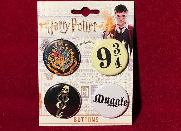 Botones x 4 Harry Potter (originales)