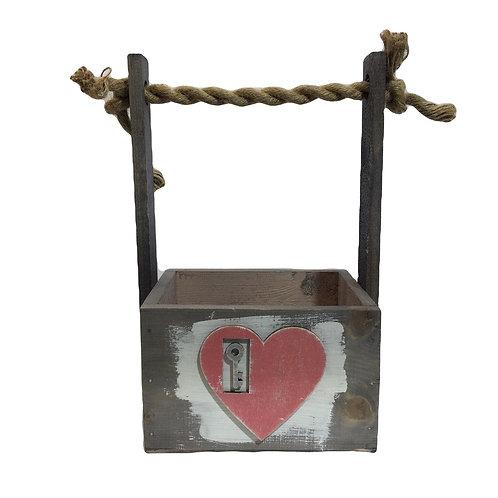 """Корзина """"Лоран"""" с веревочной ручкой, шильдик Сердце"""