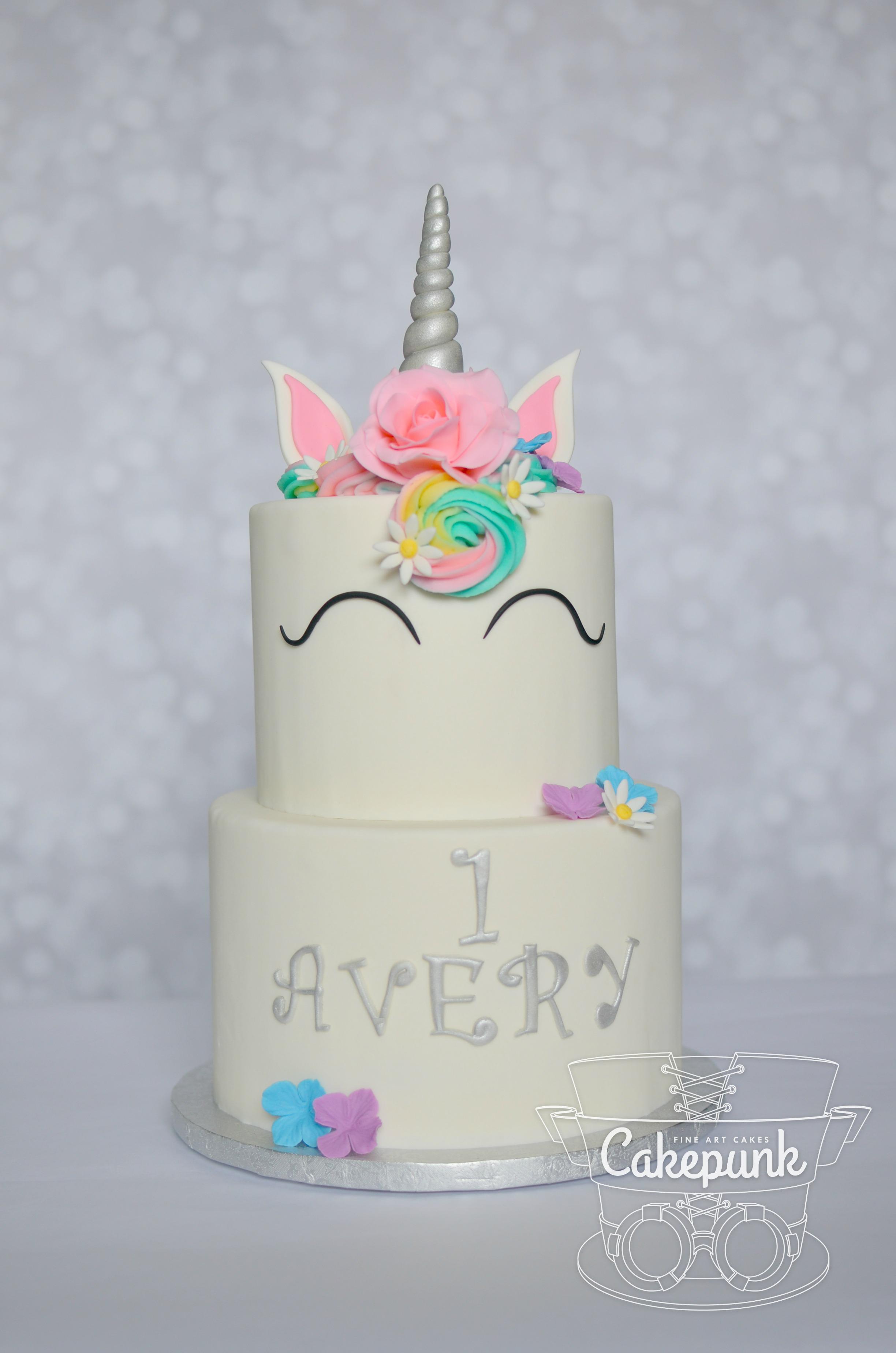 Unicorn Cake w/ Flowers