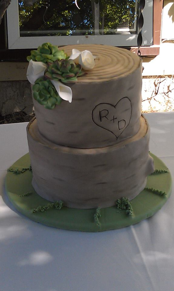 Rustic Wood Wedding Cake