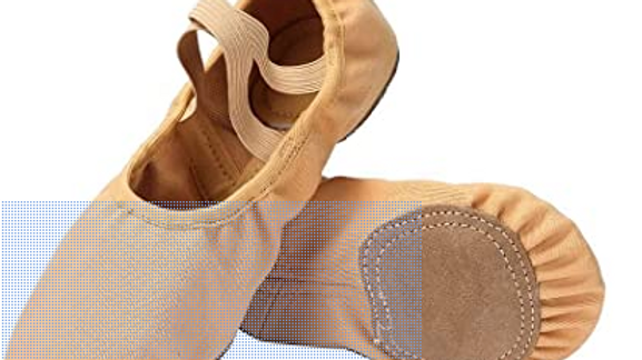 Salmon Pink and Brown split sole ballet shoes