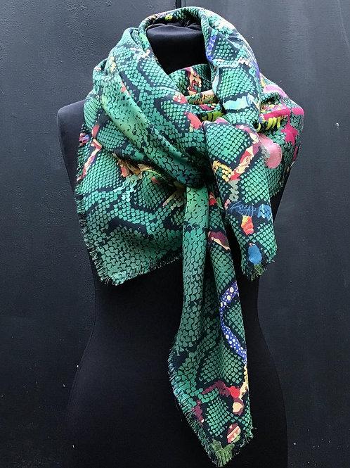 Foulards Haeckel Haus - Grand foulard en laine et soie Vert Serpent