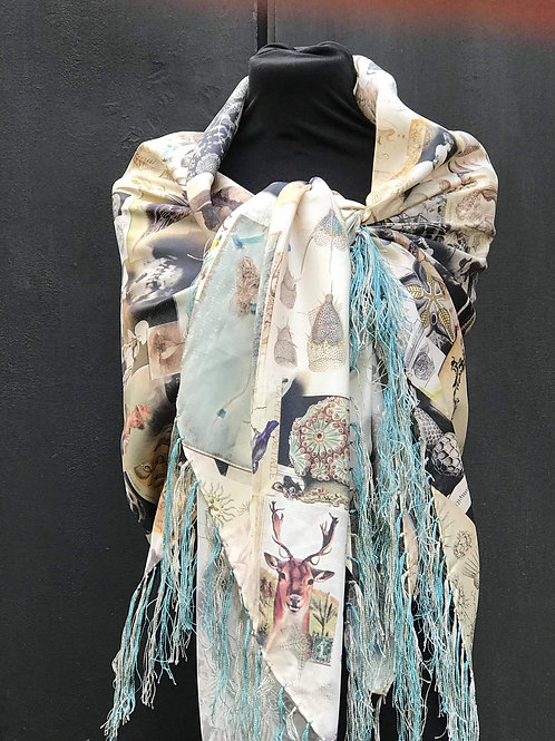 Haeckel Haus foulards - Grand foulard en soie motif Patchwork Cabinet de Curiosi
