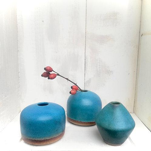 Nikisanceramics - Set de trois petits soliflores turquoise mat