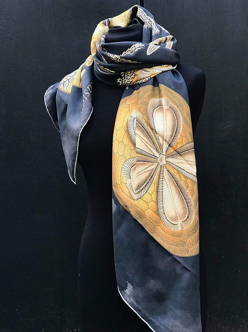 Haeckel Haus foulards - Grand foulard en soie motif Oursin Noir