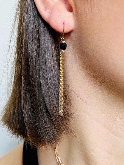 Stéphanie Ferretti - Boucles d'oreilles triples noires