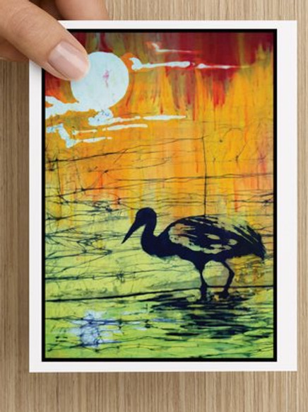 Crane at Sunset notecards (5 pack)