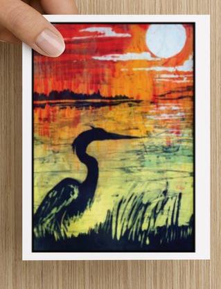 Heron Sunset notecards (5 pack)