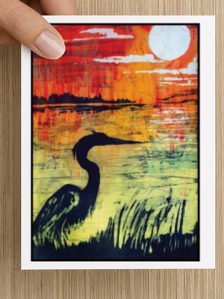Heron Sunset notecards (5 pack)