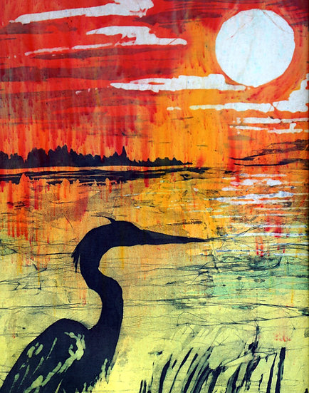 The Heron at Sunset