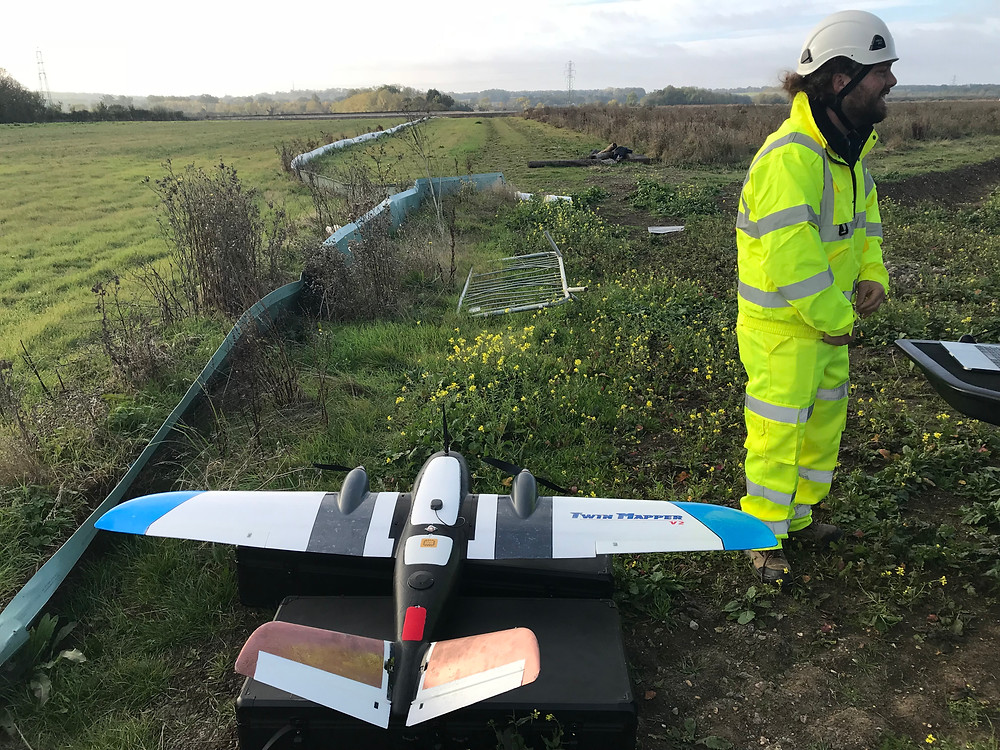 ProDroneWorx using fixed wing PPK drone technology on UK infrastructure project