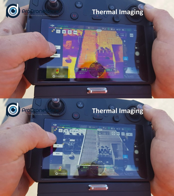 Latest drone and thermal imaging technology used for a roof inspection to help identify water leaks in a city centre location