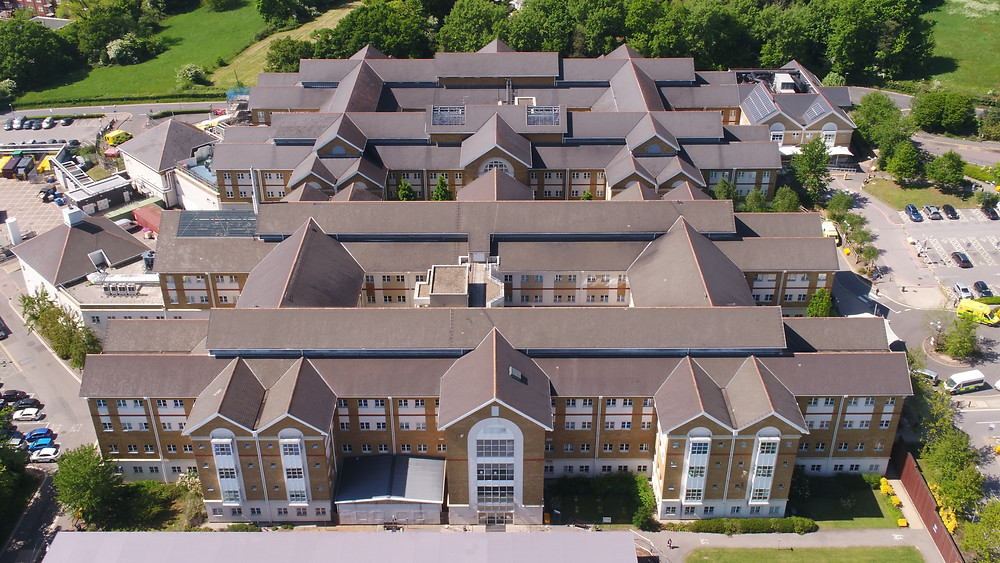 Bouygues Energies & Services and Royal Free London NHS Foundation Trust use drone technology to carry out a detailed inspection of the roofs and guttering at Barnet Hospital