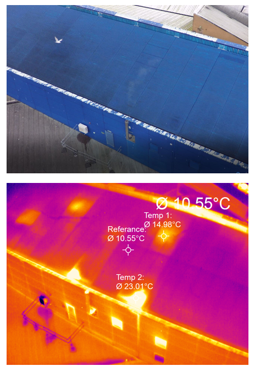 Heat loss detection of residential, industrial or commercial buildings using thermal imaging