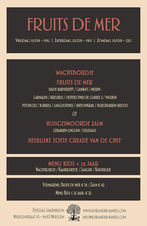 Feestzaal Saksenboom | Fruits de mer weekend | 11/12/13 september