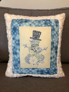 Embroidered Snowman Pillow