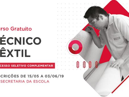 Inscrições abertas para o processo seletivo complementar do curso gratuito Técnico Têxtil até dia 3
