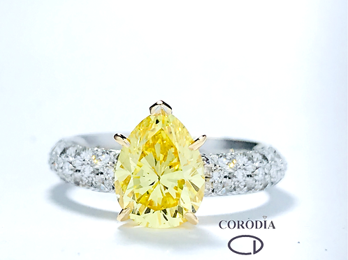 Solitario Fancy Vivid Yellow,  total 3,25 ct