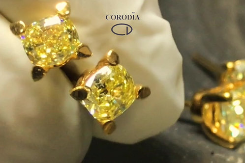 Fancy Intense  Yellow diamond couple  . 18k  gold