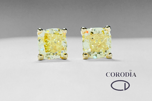 Pendientes 2,28 ct Fancy Intense Yellow GIA
