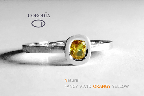 Fancy Vivid Orange Yellow 0,21ct Cushion Shape