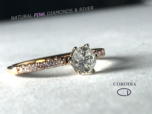 Solitario 0,50 ct River & Pink Diamonds
