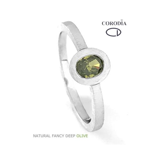 Fancy Deep Olive 0,28ct Oval Shape