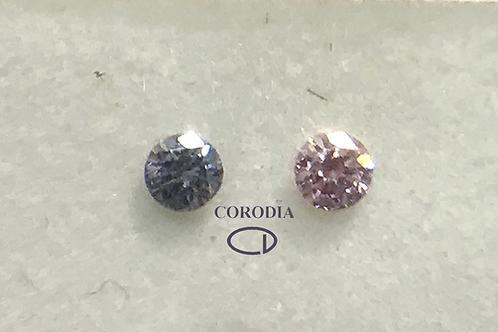 Pareja Diamante Azul y Rosa 0,07 ct total