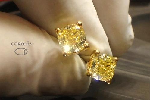 Fancy Intense Yellow diamond pair